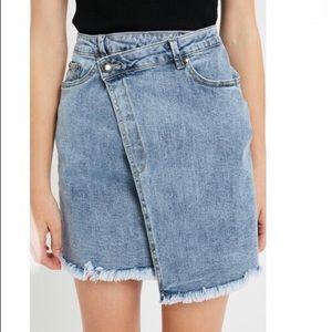 Denim wrap Skirt Stretch Asymmetrical Jean Frayed